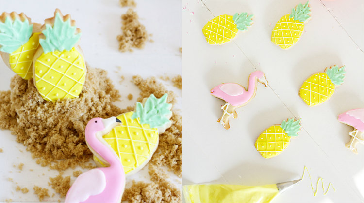 collage flamingo en ananas koekjes