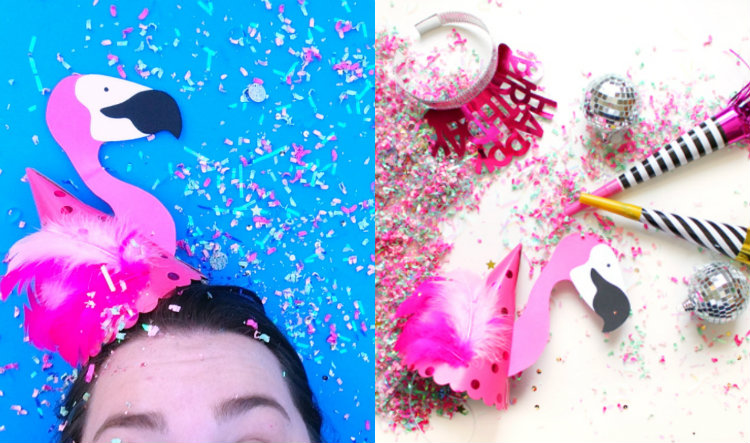collage flamingo party hats