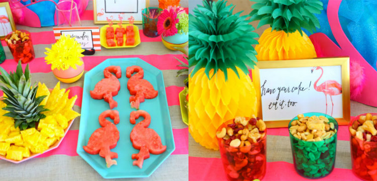 collage flamingo pineapple ananas party feest