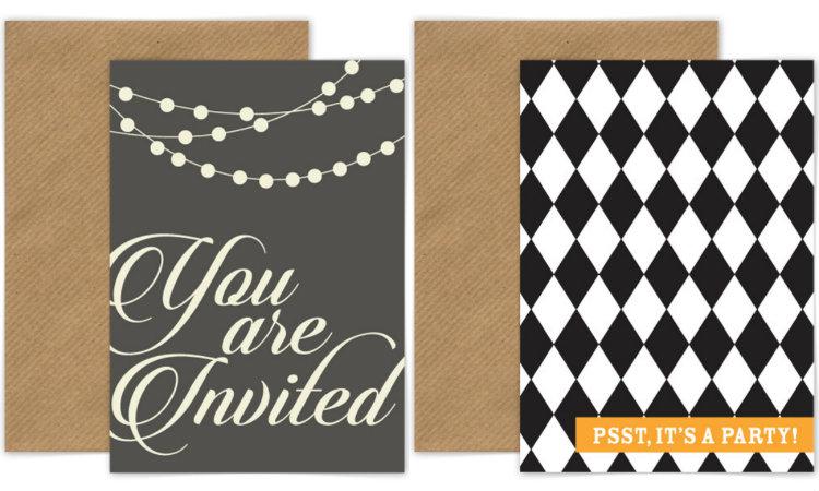 collage uitnodigingen kaarten feestje volwassenen