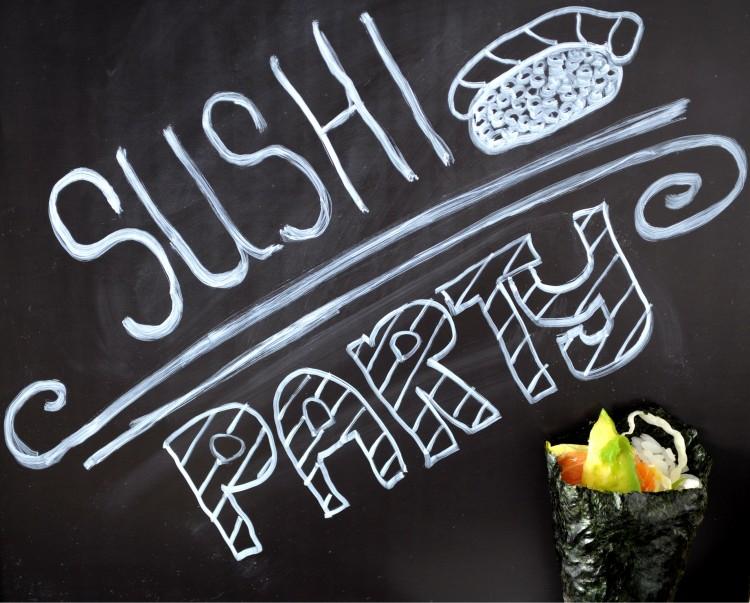 sushi party chalk board
