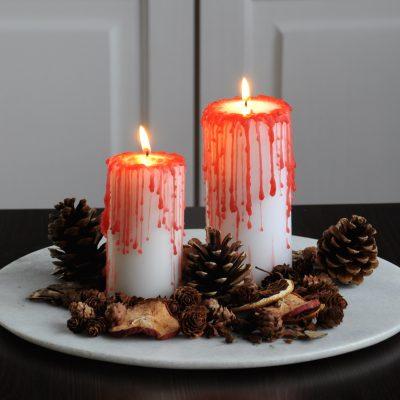 DIY Bloederige kaarsen voor Halloween