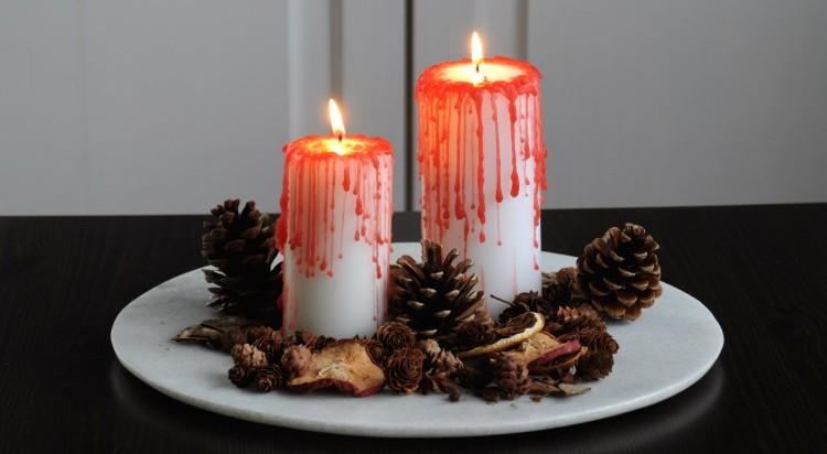 bloederige kaarsen halloween diy zelf maken