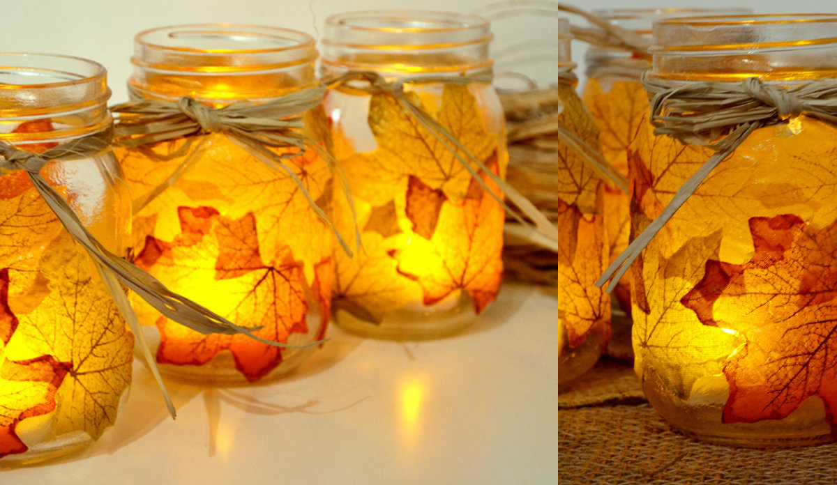 collage herfstbladeren mason jar