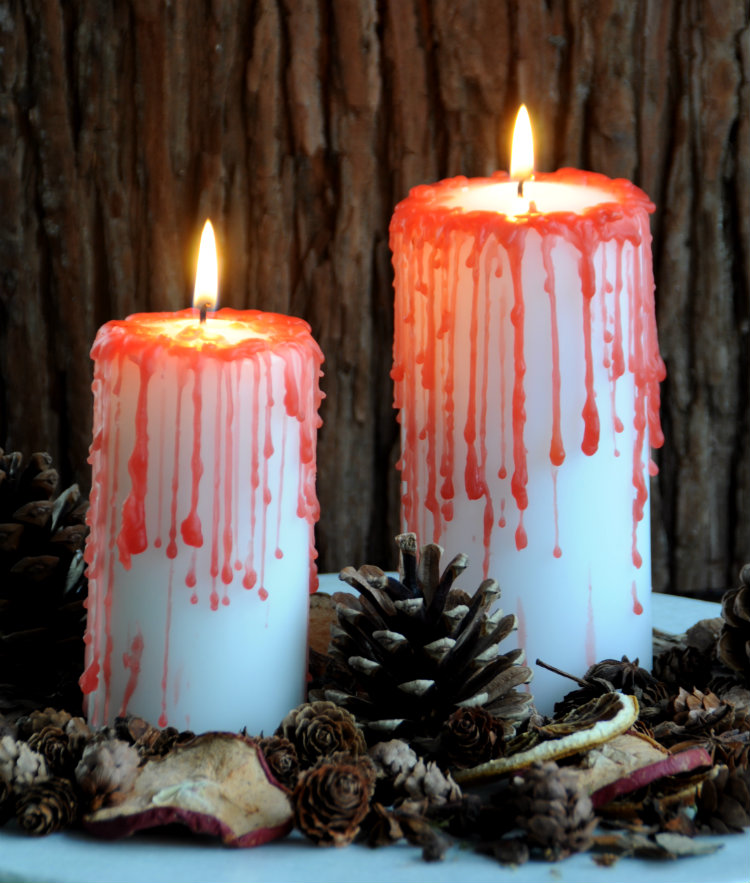 halloween candles blood dripping