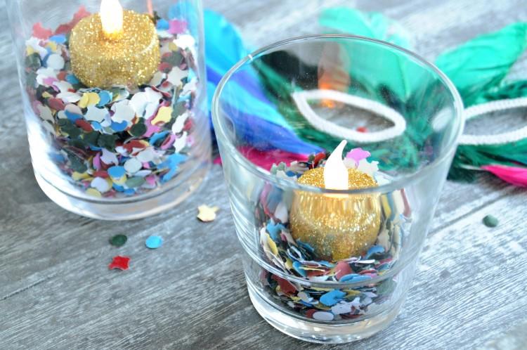 carnaval diy kaars glitter confetti