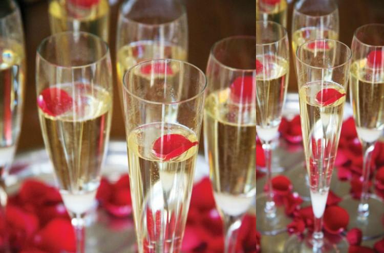 collage champagne valentijn rozenblaadjes