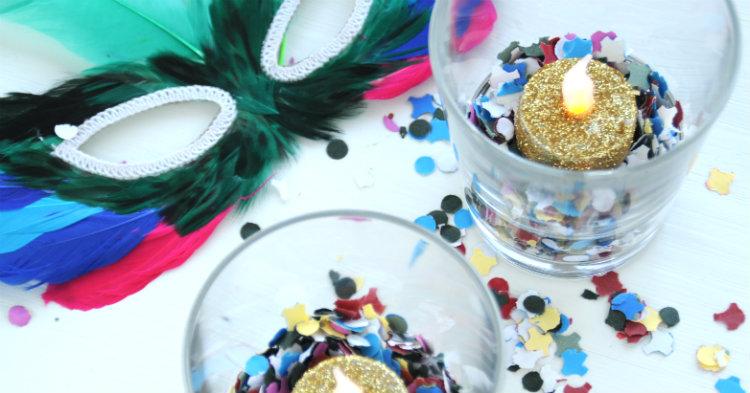 confetti kaarsjes carnaval huis versieren