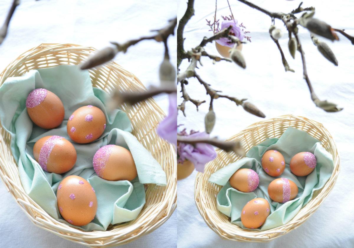 collage eieren versierd met glitter pasen