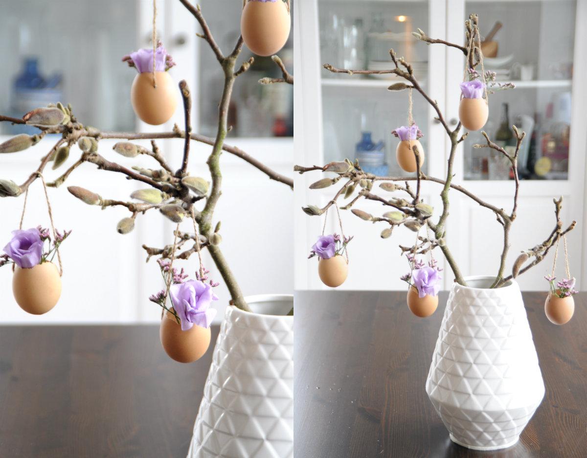 collage magnoliatak versieren voor pasen