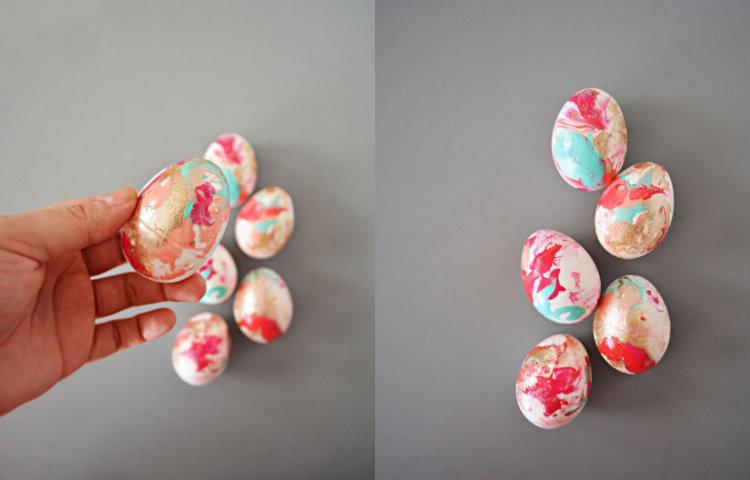 collage marble marmer paaseieren verven nagellak