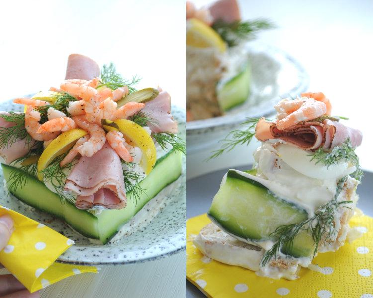 collage smorgastarta zweedse feestelijke broodtaart