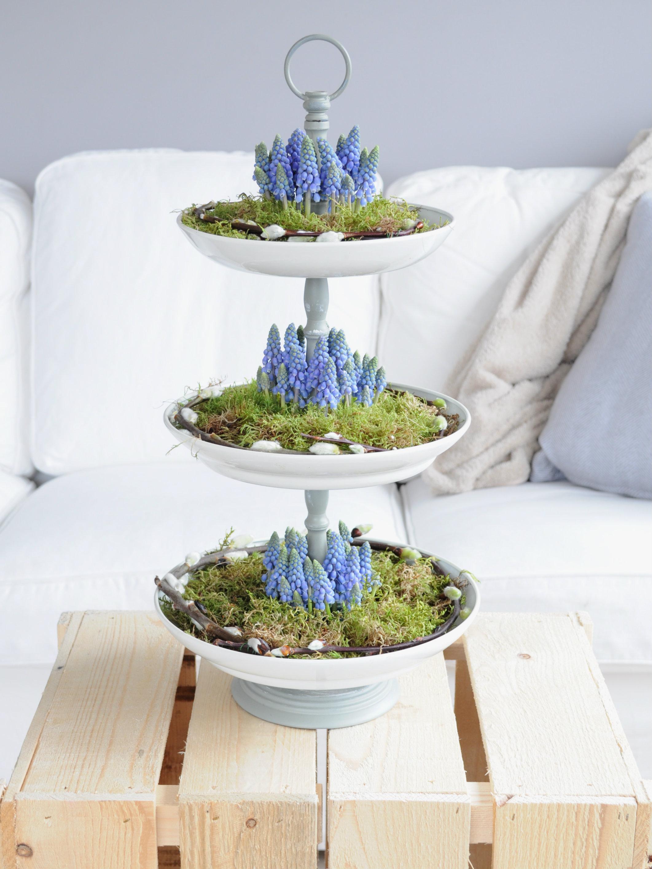 etagere pasen blauwe druifjes diy
