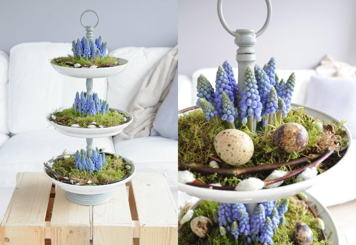 etagere versieren mos blauwe druifjes pasen voorjaar