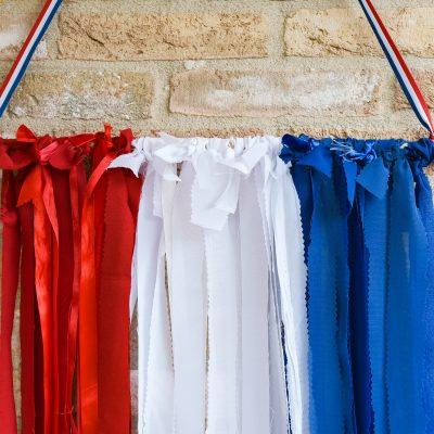 'Vlag'  maken van restjes stof & lint