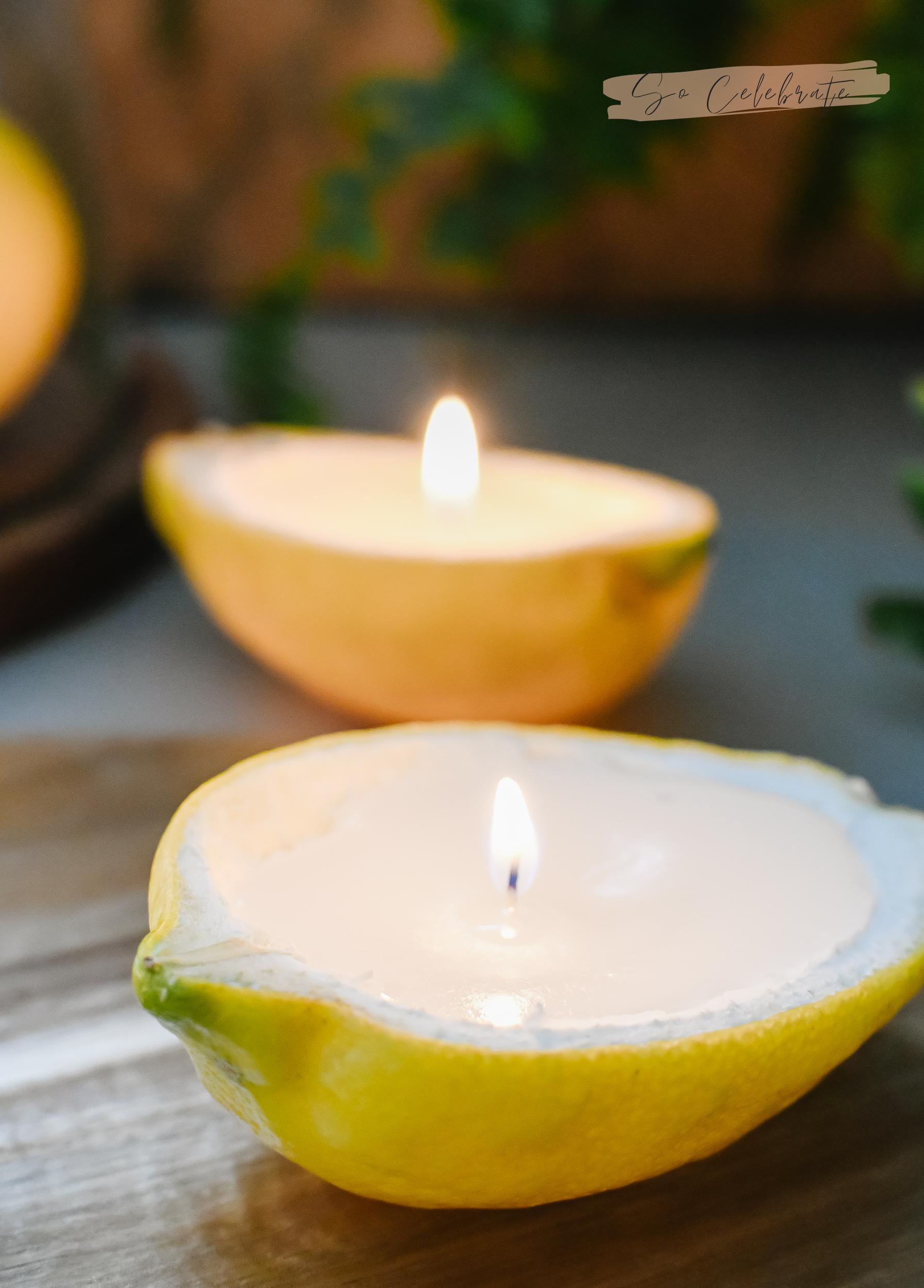 citroenkaarsjes maken van echte citroenen en waxinelichtjes
